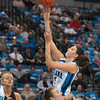 Tribune-Star/Joseph C. Garza<br /> Back up for two: Indiana State's Shannon Thomas shoots for two points after grabbing a rebound against the Central Michigan defense Sunday at Hulman Center.