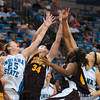 Tribune-Star/Joseph C. Garza<br /> Up for grabs: A quartet of competitors collide for a rebound, including Indiana State's Chelsea Buher and Amanda Pedro and Central Michigan's Kaihla Szungo and Skylar Miller, Sunday at Hulman Center.