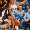 Tribune-Star/Joseph C. Garza<br /> No easy way in: Indiana State's Kelsey Luna closely guards Central Michigan's Shonda Long during the Sycamores' win Sunday at Hulman Center.
