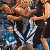 Tribune-Star/Joseph C. Garza<br /> Hard fought: Indiana State's Moriah Hodge tries to maintain possession of the ball as she is surrounded by Central Michigan's Stefanie Mauk and Skylar Miller during the Sycamores' 76-57 win Sunday in Hulman Center.