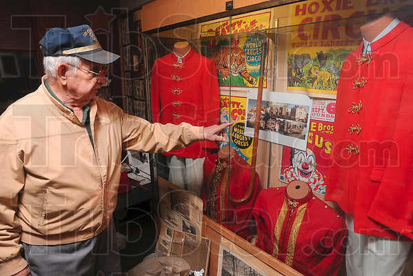 Tribune-Star/Joseph C. Garza<br /> A new addition to the museum: Fire and Police Museum Curator Tom Champion describes Sunday how funds from a fundraiser over the weekend will help bring about a new circus display the museum.