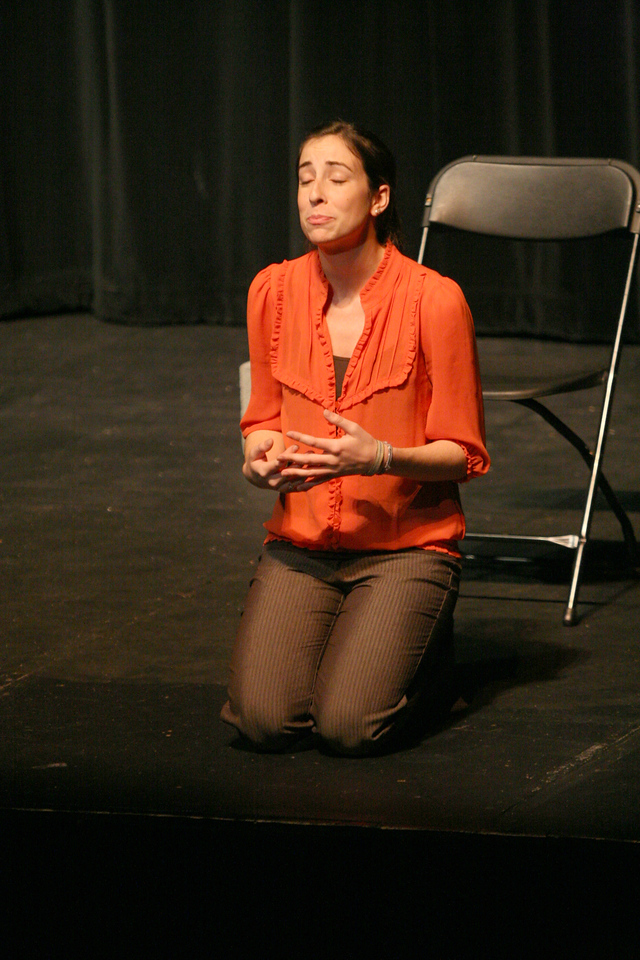 Bailey Jennings performs her original monologue for the Acing I class Tuesday afternoon.