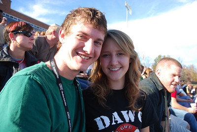 Jordan LaCroix and Hannah Rash support their Runnin' Bulldogs at the football game.
