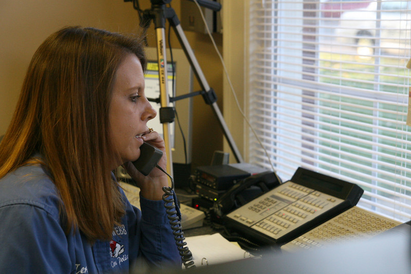 Administrative Assistant Teresa Harp manages in the University Police office Wednesday afternoon.
