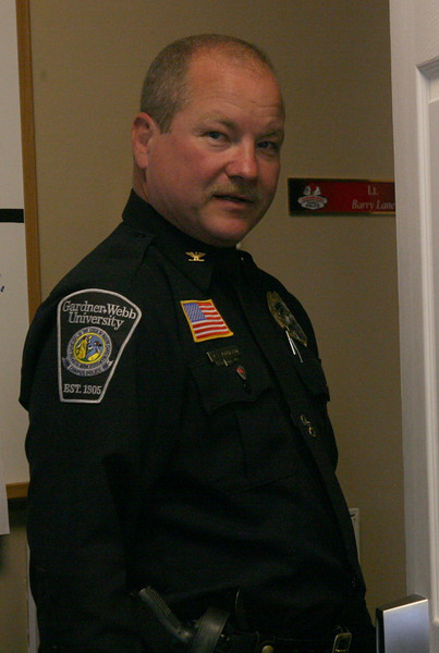 Chief Barry Johnson works at University Police Wednesday afternoon.