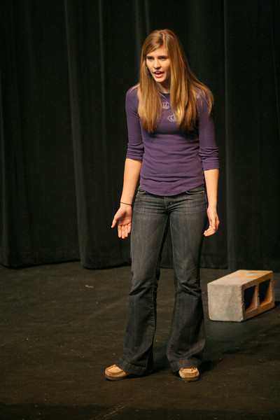 Sara Jolley performs her original monologue for the Acing I class Tuesday afternoon.