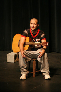Matt Stovall performs his original monologue for the Acing I class Tuesday afternoon.