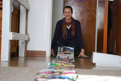 Jessica Greer with her fifteen-foot long Art Survey timeline.