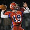 Long: Linton's #19, Tylor Scott looks downfield for an open receiver Friday night during regional play.