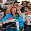 Tribune-Star/Joseph C. Garza<br /> Line? What line?: Jennifer Watson, front, shares a laugh with her mother, Joni Ditto, and aunt, Sally Joseph, as they wait in line to purchase their items shortly after 4 a.m. Friday at HH Gregg.