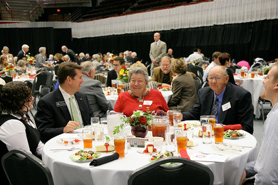 Scholarship Luncheon in the LYCC where students get to meet and eat with their donors, and donors get to meet the recipients of their contributions; November 12, 2009.
