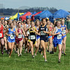 They're off: Terre Haute North's #576, Tapring Goatee gets to the front of the pack and doesn't look back as she leads from start to finish of the girl's 2009 State Cross Country Finals Saturday afternoon.