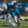 Tribune-Star/Joseph C. Garza<br /> Rough day at the office: Indiana State quarterback Ryan Roberts is brought down by Southern Illinois safety Mike McElroy during the Sycamores' 33-0 loss Saturday at Memorial Stadium.