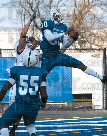 Tribune-Star/Joseph C. Garza<br /> Intercepted: Indiana State defensive back Andrew Blackmon intercepts a pass intended for a Southern Illinois receiver Saturday at Memorial Stadium.