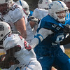 Tribune-Star/Joseph C. Garza<br /> Within reach: Indiana State's Ben Obaseki, right, tries to get a grasp on Southern Illinois' Richard White during the Sycamores' 33-0 loss Saturday at Memorial Stadium.