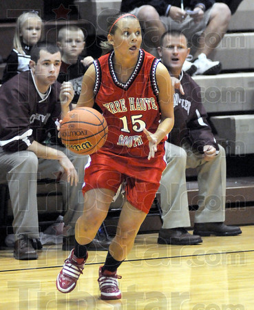 Looking: Terre Haute South point guard Haley Seibert looks for an open teammate during Saturday's game at Northview.