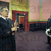 Freemasons: Jerry Burns (L) and Matthew Lowe give a tour of the Masonic Temple Saturday afternoon.