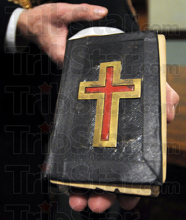 Bible: The Bible held by Freemason Jerry Burns dates 1867.