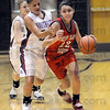 Driven: South's #22, Claire Bailey drives the ball past two Northview defenders during game action Saturday evening.
