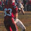Tribune-Star/Joseph C. Garza<br /> Game changer: Maroa-Forsyth's Wyatt Washburn intercepts a pass intended for Marshall's Austin Wetnight during the teams' semifinal game at Marshall.