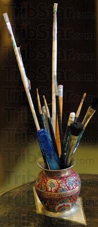 Artist supplies: Detail photo of artist's supplies.