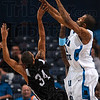 He's taller than you think: Indiana State's Isiah Martin blocks University of Indianapolis's DeWann Squires during the Sycamores' exhibition win Saturday at Hulman Center.