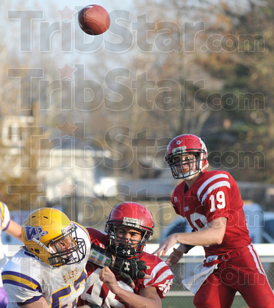 Southpaw: Marshall quarterback Taylor Duncan throws during action against Williamsville Saturday afternoon in a second round playoff game.