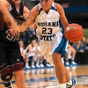 Tribune-Star/Joseph C. Garza<br /> Driving it home: Indiana State's Taylor Whitley drives to the basket against Bellarmine's Melissa Fitz during the Sycamores' 84-52 win Sunday at Hulman Center.