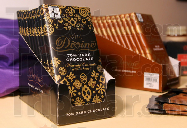 Tribune-Star/Joseph C. Garza<br /> Heavenly: Among the items for sale in the SERRV International Gift Shop at Central Christian Church is Divine chocolate from Ghana.