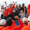 Tribune-Star/Joseph C. Garza<br /> They're OK with a National Championship: Oklahoma State fans celebrate with the men's cross country team after it finished first as a team at the NCAA Div. I Championships Monday at the LaVern Gibson Championship Cross Country Course.