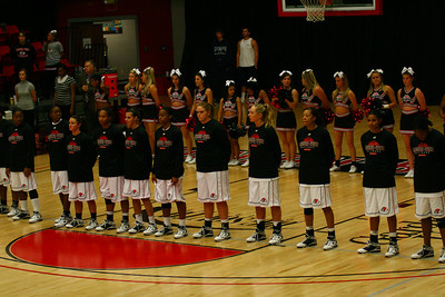 The Women's Basketball team hosted Winston-Salem State on Monday, November 16th. They stand at the playing of the national anthem.