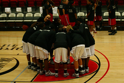 The Women's Basketball team hosted Winston-Salem State on Monday, November 16th. They had a last minute huddle before the start of the game.