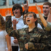 "Tribune-Star/Joseph C. Garza<br /> You are my hero: Sarah Scott Middle School eighth-grader Kali Vanatti, center, sings ""The Wind Beneath My Wings"" while dressed in Army fatigues with her fellow classmates Tuesday during a Veterans Day celebration at the middle school."