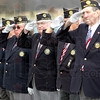 Salute: Members of the Parke Co. Veterans' organization salute during Tuesday's ceremony at the Rockville Correctional Facility.