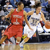 Ya can't stop this: Indiana State's #33, Kelsey Luna dribbles past Southeast defender #1, Bianca Beck during first half action Tuesday night.