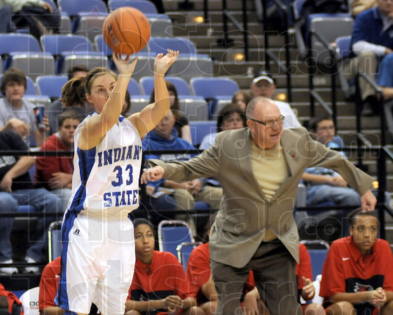 Three ball: Indiana State's #33, Kelsey Luna draws the attention of the Southeast Missouri Coach during game action Tuesday night at Hulman Center.
