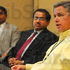 Tribune-Star/Joseph C. Garza<br /> More services coming soon: Terre Haute Regional Hospital CEO Chris Hill, right, discusses the plans for a new cancer treatment center which will be built into the southeast corner of the southside hospital Tuesday during a press conference at Regional. With Hill are Dr. Chandra Reddy and Dr. Ashis Chakrabarti, who will be on staff at the new center.