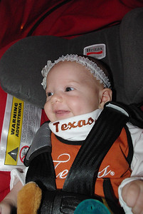 Isabel smiling.  She's ready for the game!