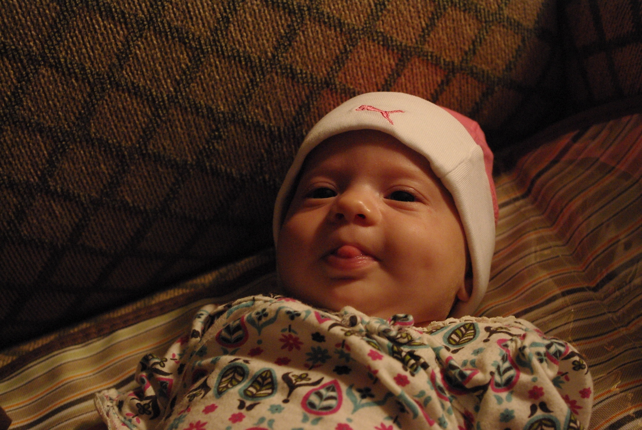 Isabel sticking out her tongue @ 7 weeks old