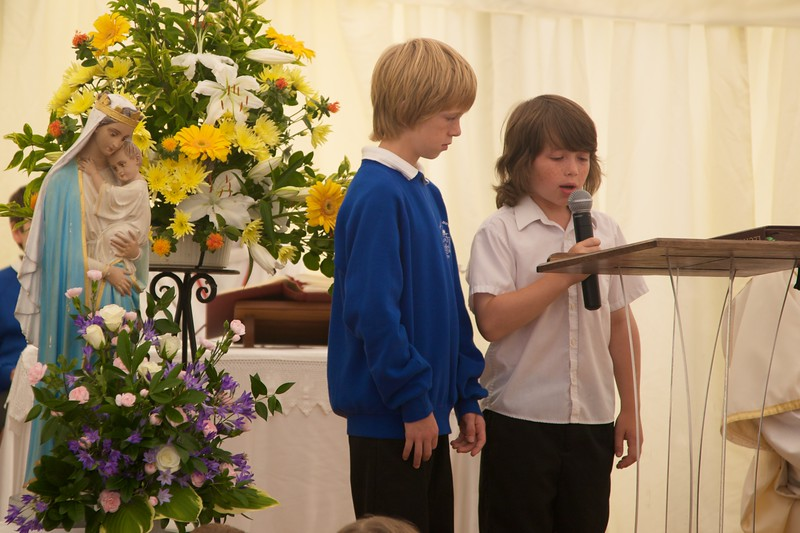 Readers at Mass for the 50th Anniversary of the foundation of Our Lady of Lourdes Catholic Primary School, Witney.