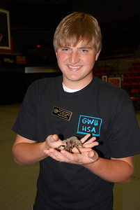 At the faculty fair for Dawg Days, Derek Breakfield holds the tarantula and talks about GWU's Honors Association.