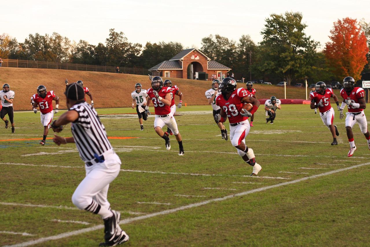 Mens football game vs Southern Virginia. Gardner Webb steamrolled the opposing team 65 - 0.