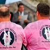 Tribune-Star/Joseph C. Garza<br /> Survivor supporters: Members of the Terre Haute Fire Department wear pink T-shirts in support of breast cancer awareness during a ceremony at the Vigo County Courthouse Thursday.