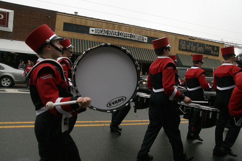 The Marching Bulldogs' drumline sets the rhythm for the Homecoming day parade on Saturday.