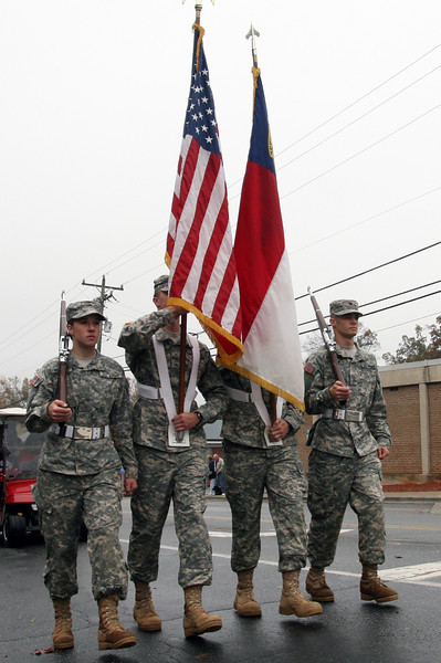 Gardner-Webb's Army ROTC color guard marches in the Homecoming day parade on Saturday.