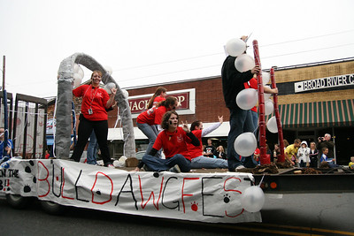 The Deaf Club shows off their float during the Homecoming day parade on Saturday.