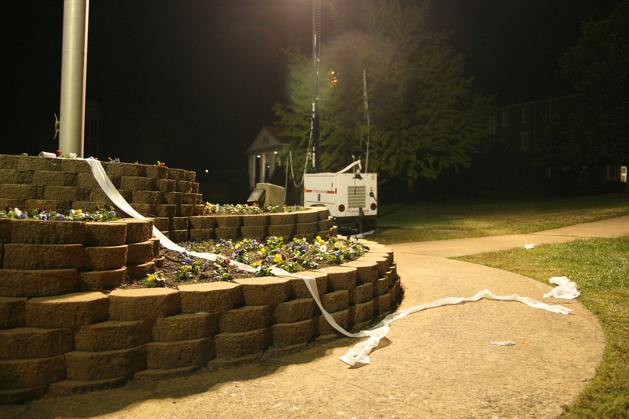 The base of the flagpole was donned with toilet paper around midnight Friday night, despite the school's best efforts to keep Homecoming pranks to a minimum.