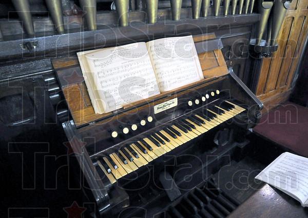 Organ detail: Detail of keyboard.