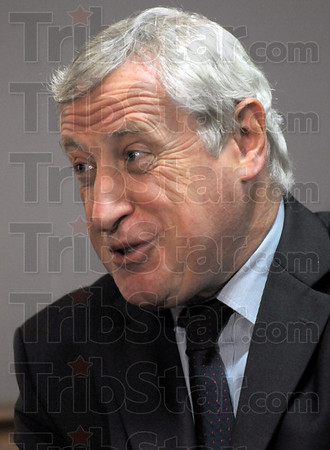 Ambassador: French Ambassador to the United States Pierre Vimont talks with news media during a press conference at St. Mary-of-the-Woods College Sunday afternoon.