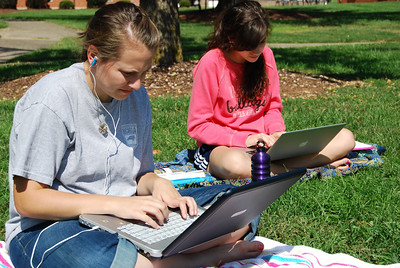 Students spend their afternoons studying on the quad.